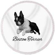 Boston Terrier Round Beach Towel