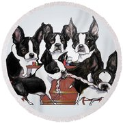 Boston Terrier - Dogs Playing Poker Round Beach Towel