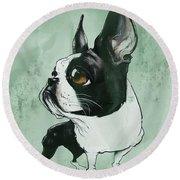Boston Terrier - Green  Round Beach Towel