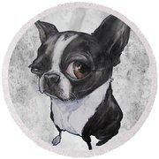 Boston Terrier - Grey Antique Round Beach Towel