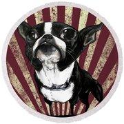 Boston Terrier Revolution Round Beach Towel
