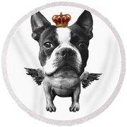 Boston Terrier, The King Round Beach Towel
