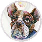 Round Beach Towel featuring the painting Boston Terrier Watching A Soap Bubble by Zaira Dzhaubaeva