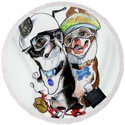 Boston Terriers - Dumb And Dumber Round Beach Towel