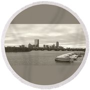 Round Beach Towel featuring the photograph Boston View by Raymond Earley
