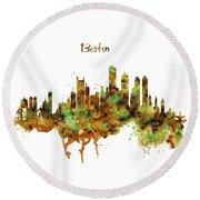 Boston Watercolor Skyline Round Beach Towel