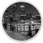 Boston Waterfront Boston Skyline Black And White Round Beach Towel