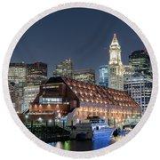 'boston Waterfront' Round Beach Towel