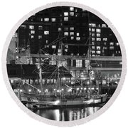 Round Beach Towel featuring the photograph Bostonian Black And White by Frozen in Time Fine Art Photography