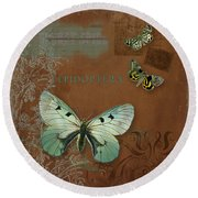 Botanica Vintage Butterflies N Moths Collage 4 Round Beach Towel