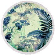 Botanical Art - Fern Round Beach Towel by Bonnie Bruno