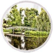 Botanical Bridge - Monet Round Beach Towel