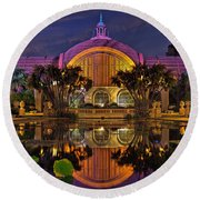 Botanical Building At Night In Balboa Park Round Beach Towel