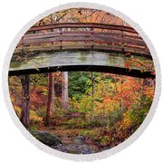 Botanical Gardens Arched Bridge Asheville During Fall Round Beach Towel
