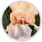 Round Beach Towel featuring the painting  Botanical Peach Iris by Laurie Rohner