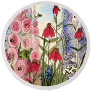 Round Beach Towel featuring the painting Botanical Wildflowers by Laurie Rohner