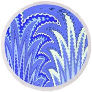 Botanicals In Blue Round Beach Towel by Ann Johndro-Collins