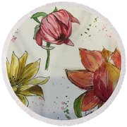 Round Beach Towel featuring the painting Botanicals by Lucia Grilletto