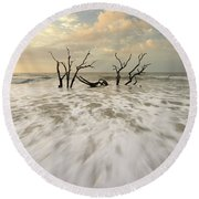 Botany Bay In South Carolina Round Beach Towel