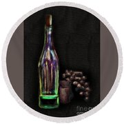 Round Beach Towel featuring the photograph Bottle And Grapes by Walt Foegelle