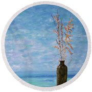 Bottle And Sea Oats Round Beach Towel