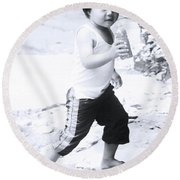 Round Beach Towel featuring the photograph Bottle Dash by Jez C Self