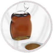 Bottle Of Maple Syrup Round Beach Towel
