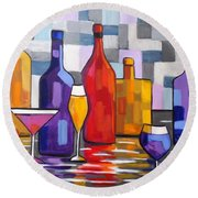 Bottle Of Wine Round Beach Towel