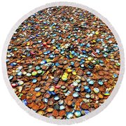 Bottlecap Alley Round Beach Towel