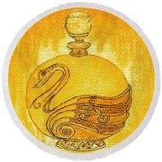 Bottled Gold Swan Round Beach Towel
