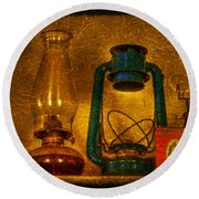 Bottles And Lamps Round Beach Towel