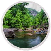 Bottom Of Tallulah Gorge Round Beach Towel by Barbara Bowen