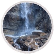 Bottom Part Of Upper Yosemite Waterfall Round Beach Towel