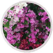 Bougainville Flowers In Hawaii Round Beach Towel by Karen Nicholson