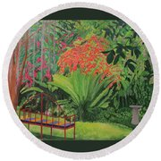 Bougainvillea Garden Round Beach Towel by Hilda and Jose Garrancho