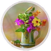 Bougainvilleas In A Green Jar. Round Beach Towel