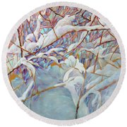 Round Beach Towel featuring the painting Boughs In Winter by Joanne Smoley