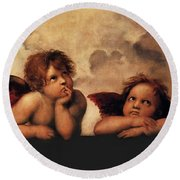 Bouguereau Painting Fresh Paint  Round Beach Towel by Catherine Lott