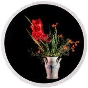 Bouquet In Red Round Beach Towel by Torbjorn Swenelius
