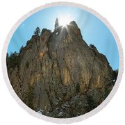 Round Beach Towel featuring the photograph Boulder Canyon Narrows Pinnacle by James BO Insogna