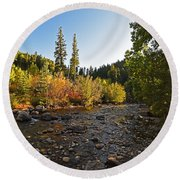 Boulder Colorado Canyon Creek Fall Foliage Round Beach Towel