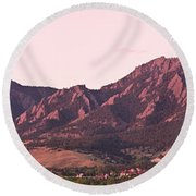 Boulder Colorado Flatirons 1st Light Panorama Round Beach Towel