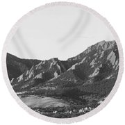 Boulder Colorado Flatirons And Cu Campus Panorama Bw Round Beach Towel