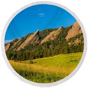Boulder Colorado Flatirons Sunrise Golden Light Round Beach Towel