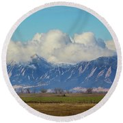 Round Beach Towel featuring the photograph Boulder Colorado Front Range Cloud Pile On by James BO Insogna
