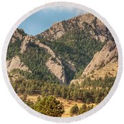 Round Beach Towel featuring the photograph Boulder Colorado Rocky Mountain Foothills by James BO Insogna