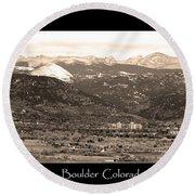 Boulder Colorado Sepia Panorama Poster Print Round Beach Towel
