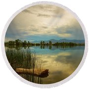 Round Beach Towel featuring the photograph Boulder County Colorado Calm Before The Storm by James BO Insogna