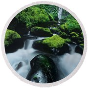Round Beach Towel featuring the photograph Boulder Elowah Falls Columbia River Gorge Nsa Oregon by Dave Welling