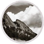 Large Cloud Over Flatirons Round Beach Towel by Marilyn Hunt